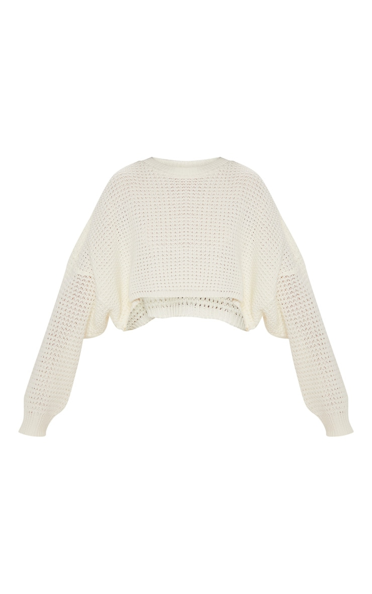 Cream Fisherman Knitted Batwing Jumper 3