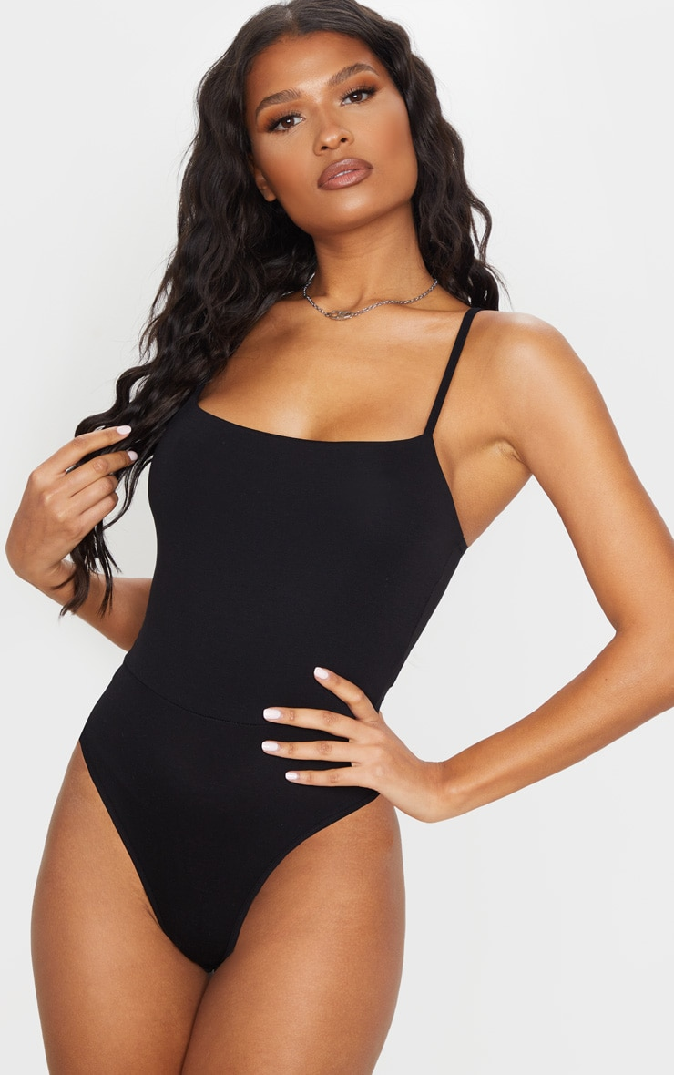 Black Basic Square Neck Thong Bodysuit  2