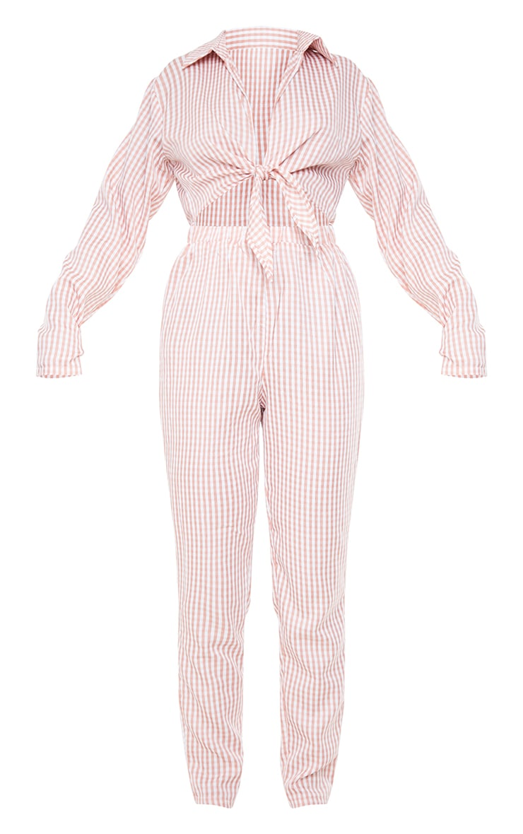 Pink Gingham Tie Front Collar Detail Jumpsuit 5