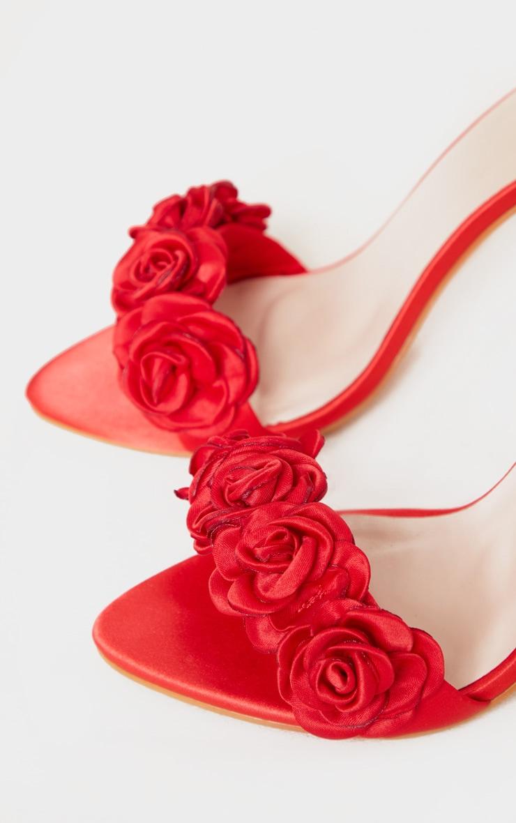 Sandales rouges à bride fleurs 4