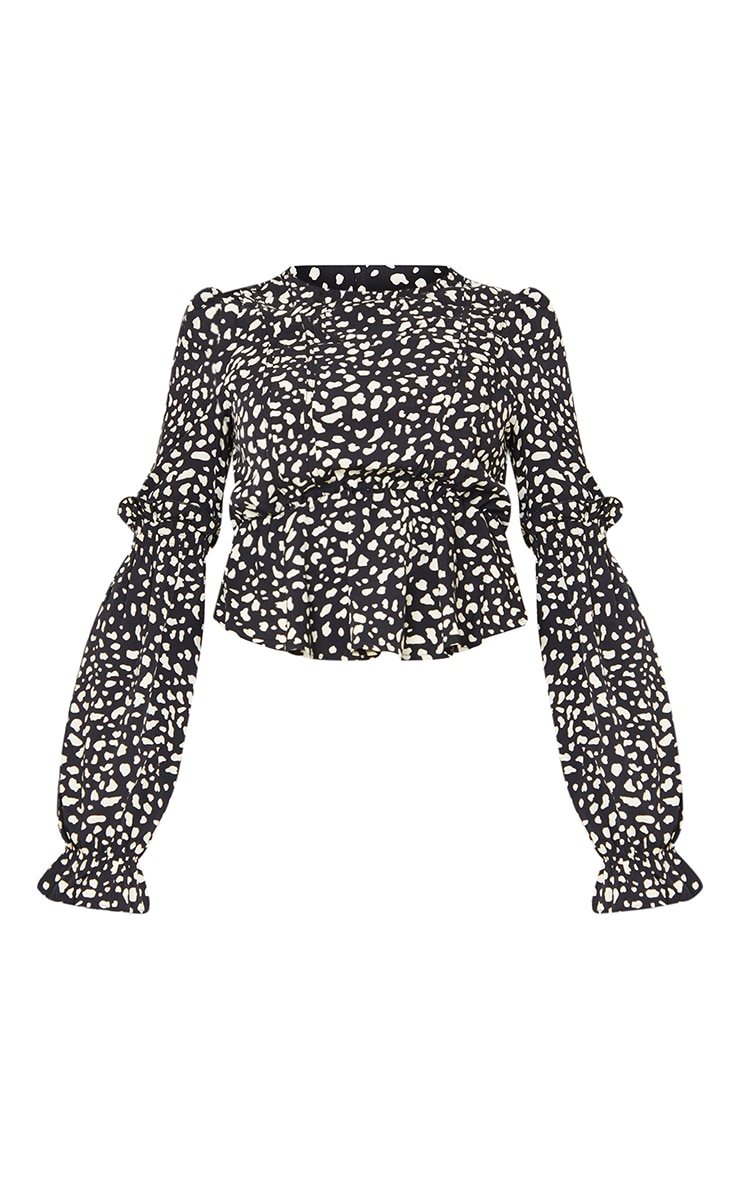 Black Leopard Binding Puff Sleeve Peplum Top 5