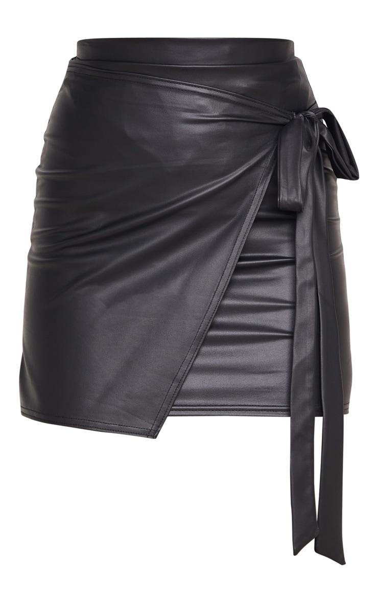 Black Faux Leather Wrap Tie Mini Skirt 3