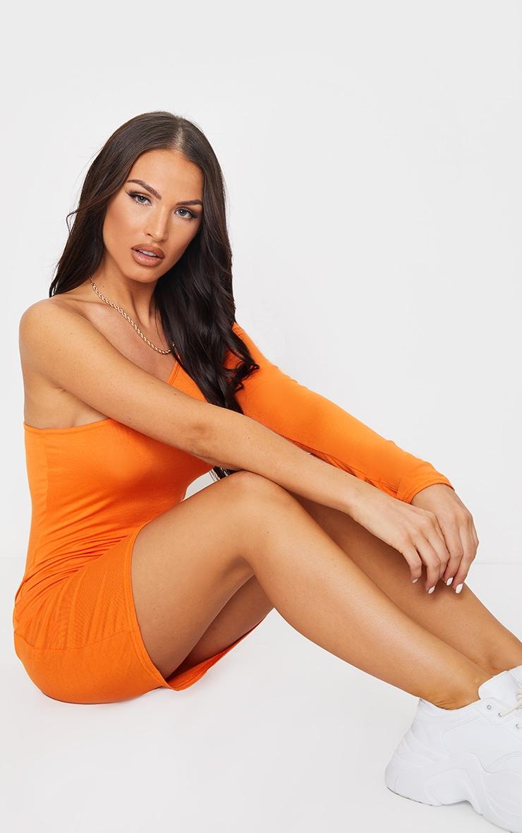 Bright Orange One Shoulder Long Sleeve Bodycon Dress 3