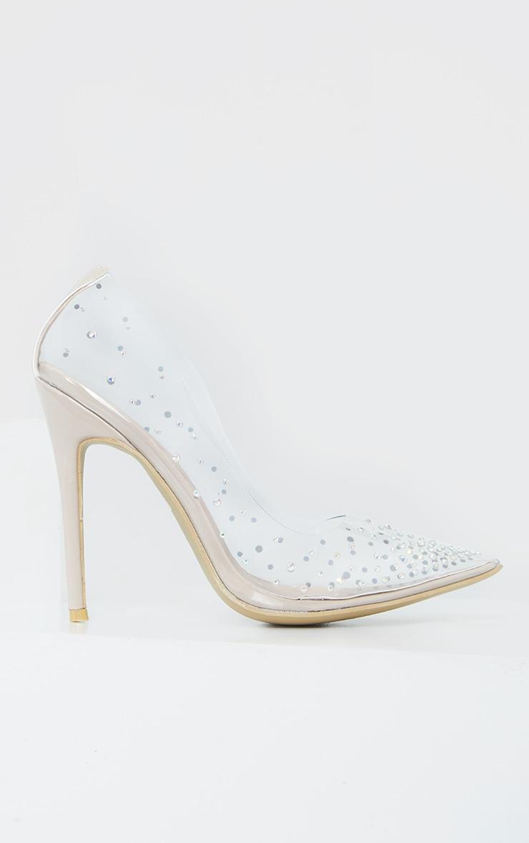 Clear Diamante Court Shoes 4