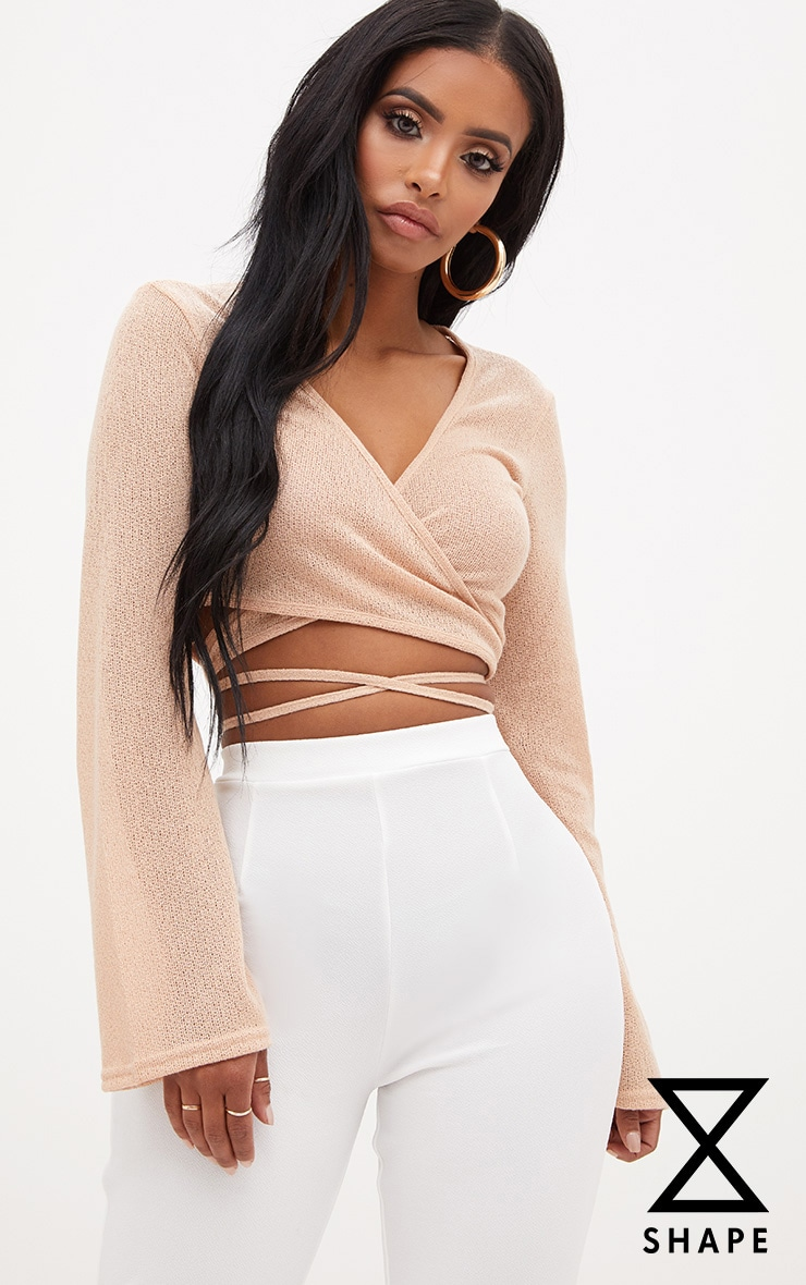 Shape Stone Lightweight Knit Wrap Around Crop Top