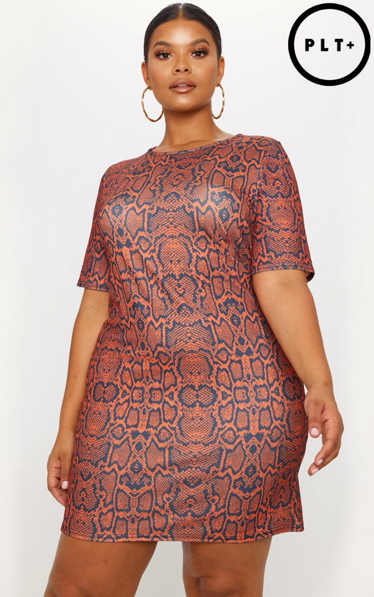 Plus Rust Snake Printed T-Shirt Dress