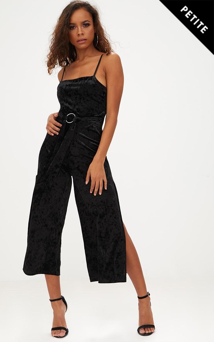 Petite Black Velvet Cami O-Ring Culotte Jumpsuit 1