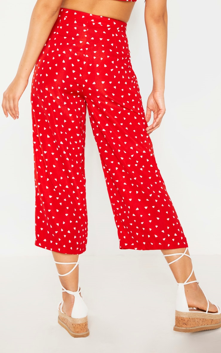 Red Woven Love Heart Print Culottes 4