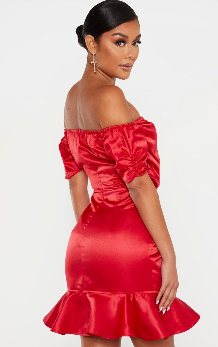 Red Bonded Satin Bardot Wrap Front Bodycon Dress