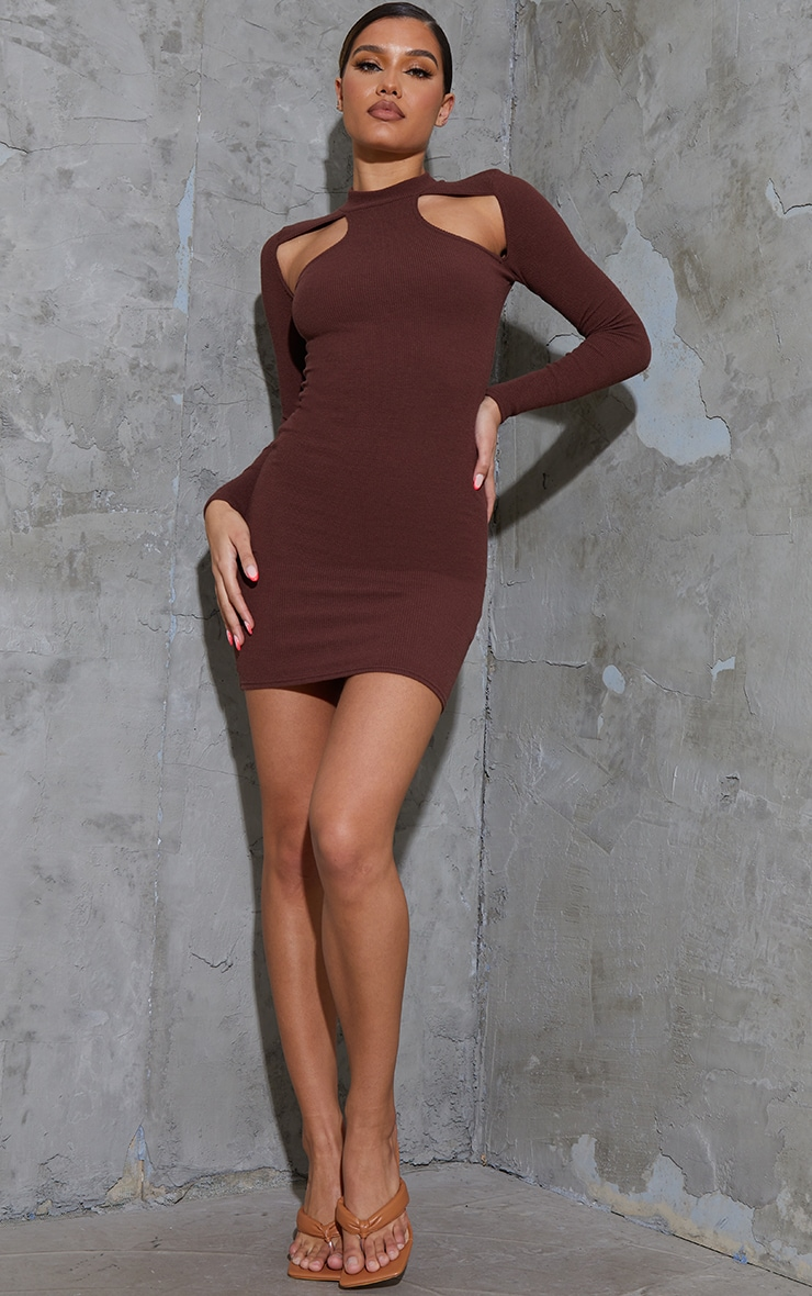 Chocolate Washed Rib Cut Out Chest Detail Long Sleeve Bodycon Dress 3