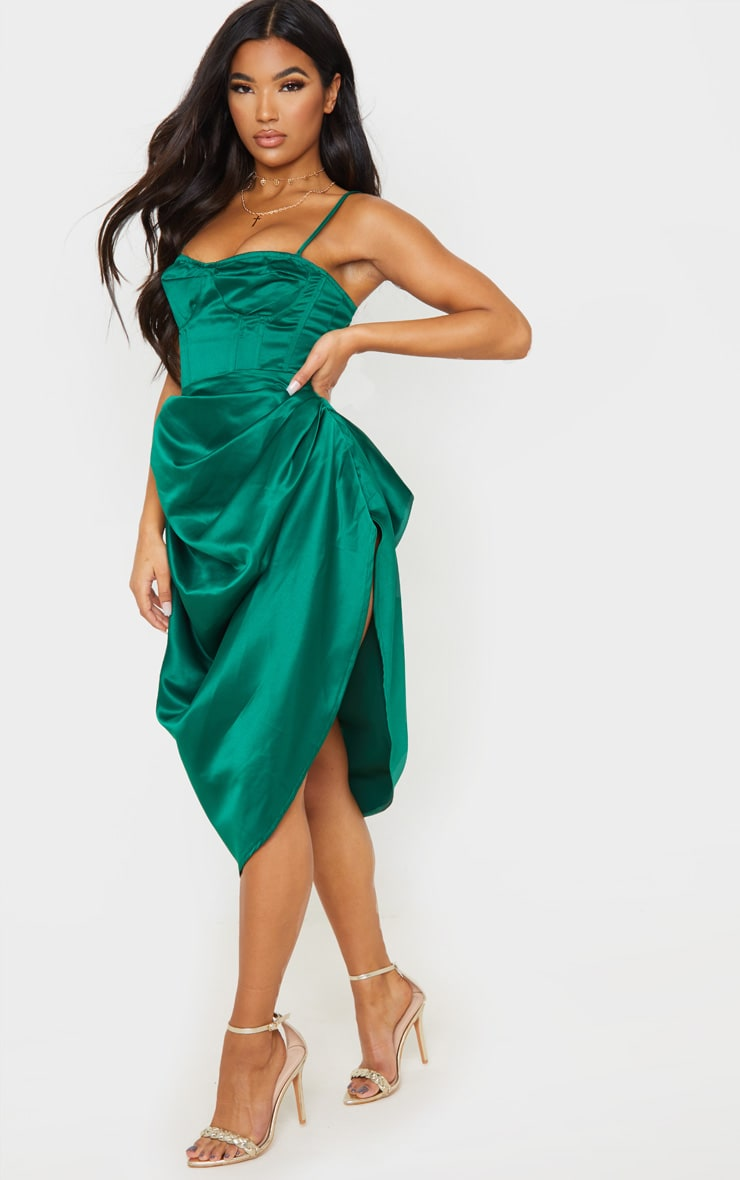 Emerald Green Satin Woven Ruched Side Midi Skirt 1