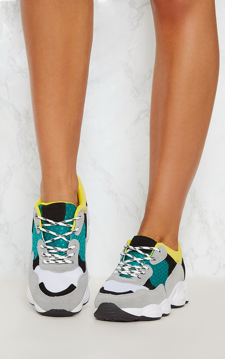 Grey Chunky Contrast Trainers 2