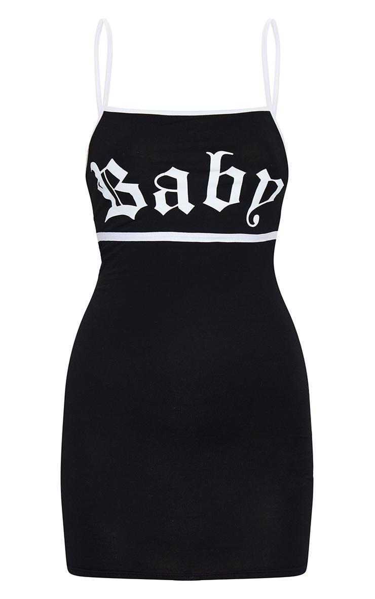 Black Baby Slogan Print Contrast Strappy Jersey Bodycon Dress 5