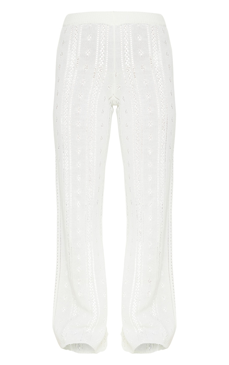 Petite Cream Pointelle Knit Wide Leg Pants 5
