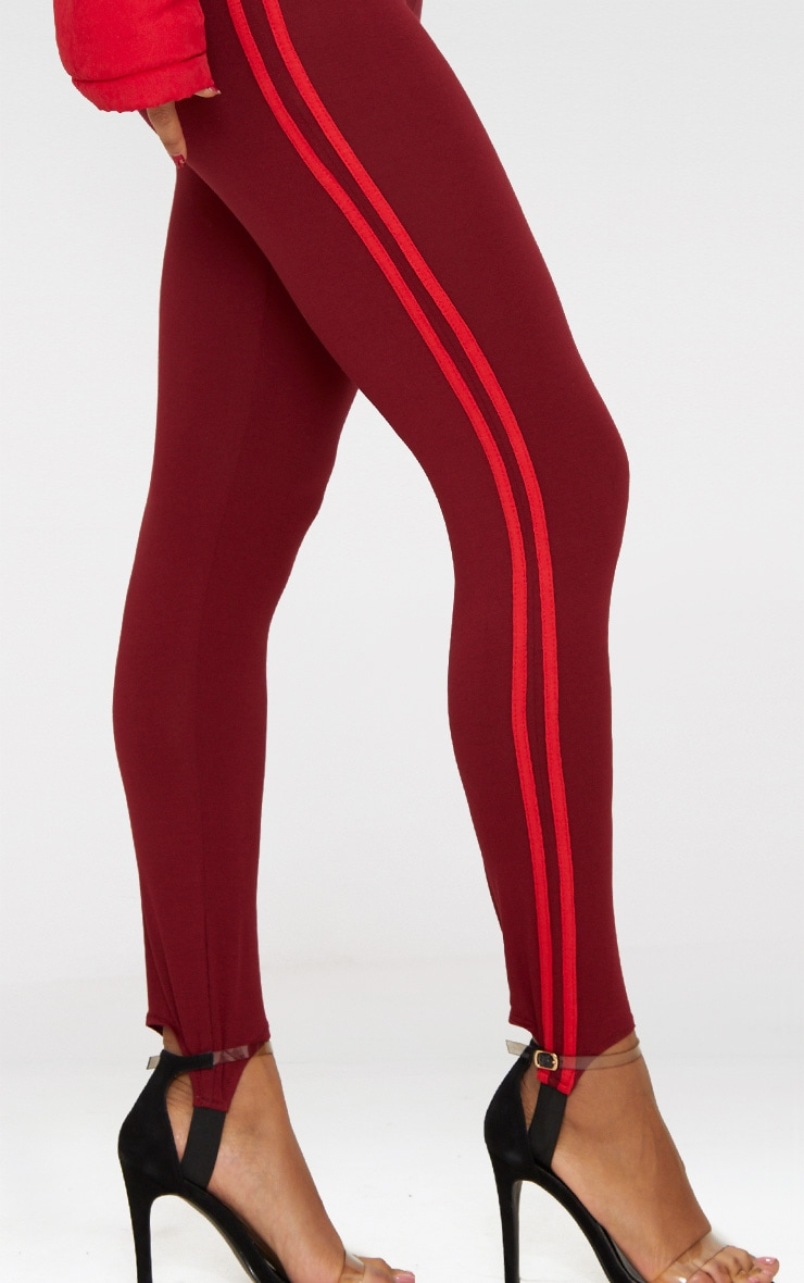 Burgundy Track Stripe Stirrup Leggings 5