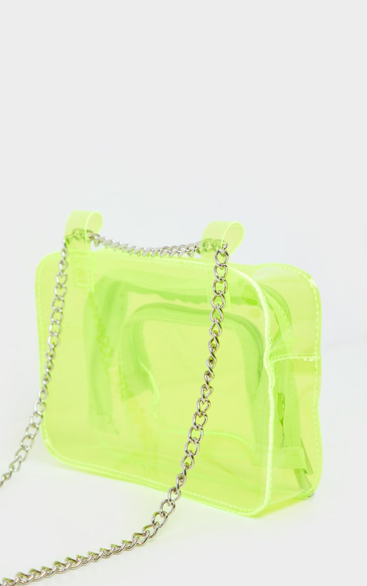 Neon Lime Plastic Multi Pocket Bum Bag 5
