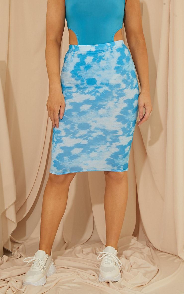 Blue Tie Dye Basic Midi Skirt 2