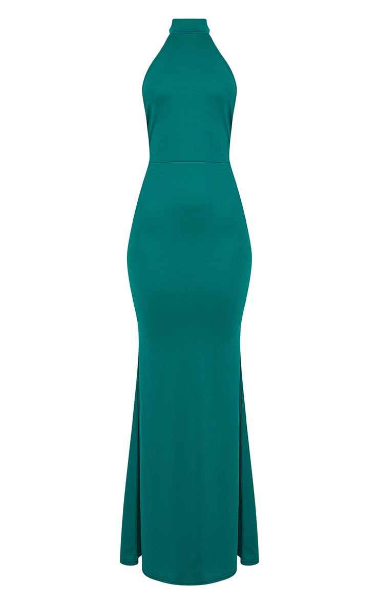 Emerald Green Cross Back High Neck Maxi Dress 3