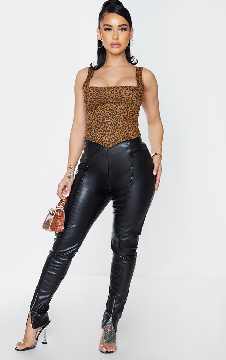Shape Brown Leopard Print Square Neck Corset Crop Top 3