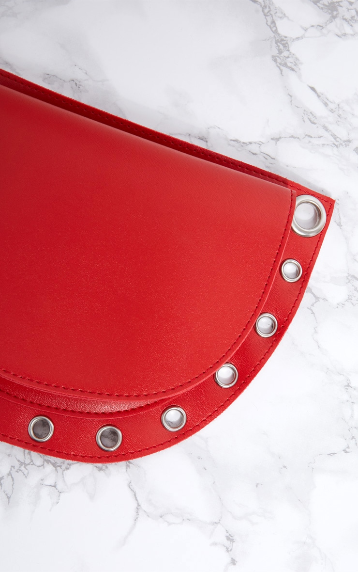 Red Rounded Eyelet Detail Bum Bag 6