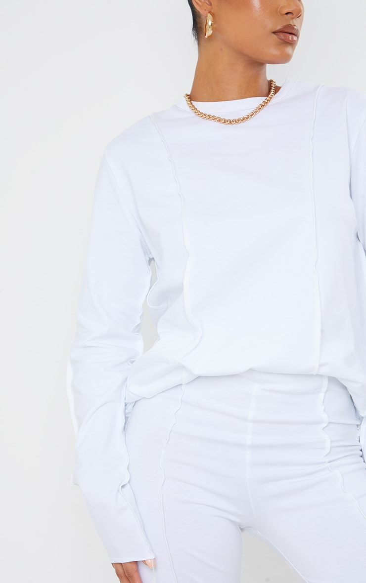 White Cotton Overlock Stitch Detail Long Sleeve Top 5