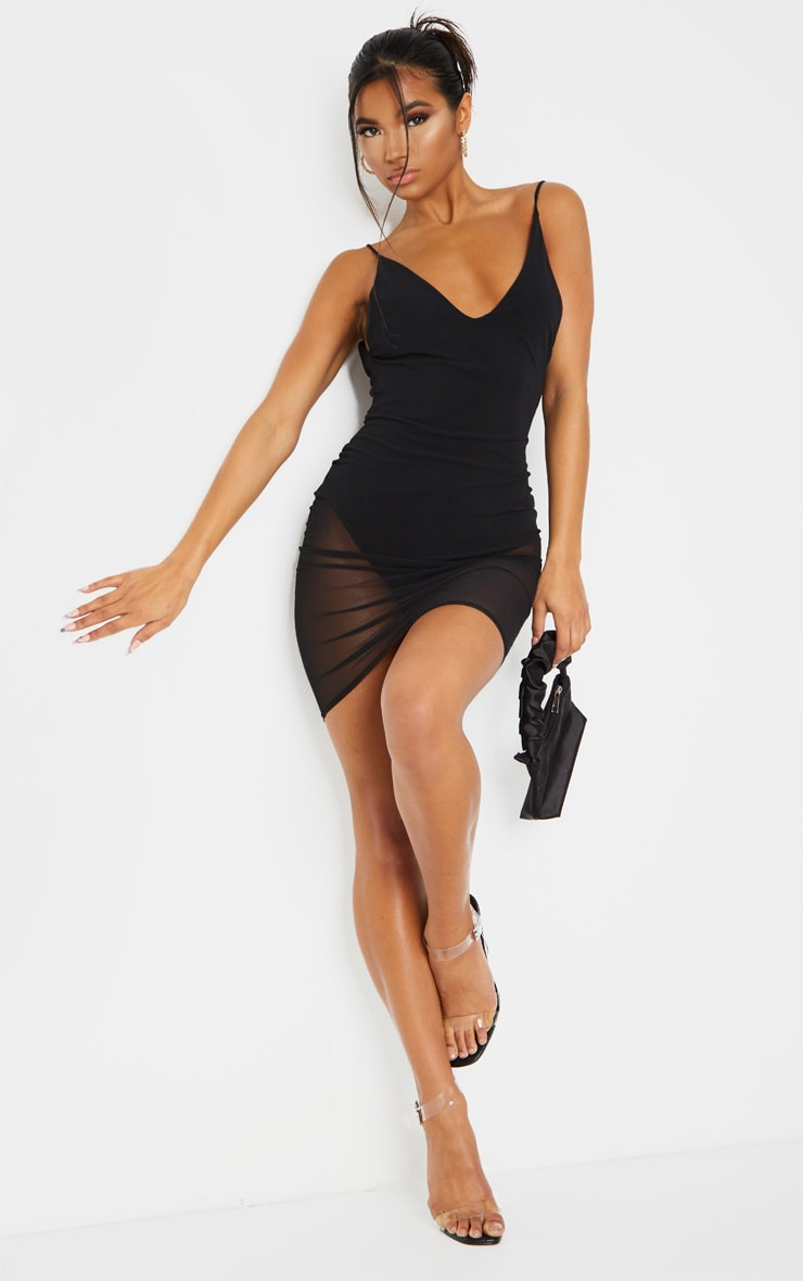 Kyiah Black Mesh Overlay Bodycon Dress 3