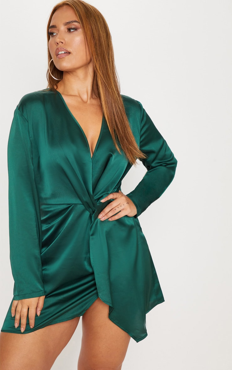 Plus Emerald Green Satin Long Sleeve Wrap Dress 1