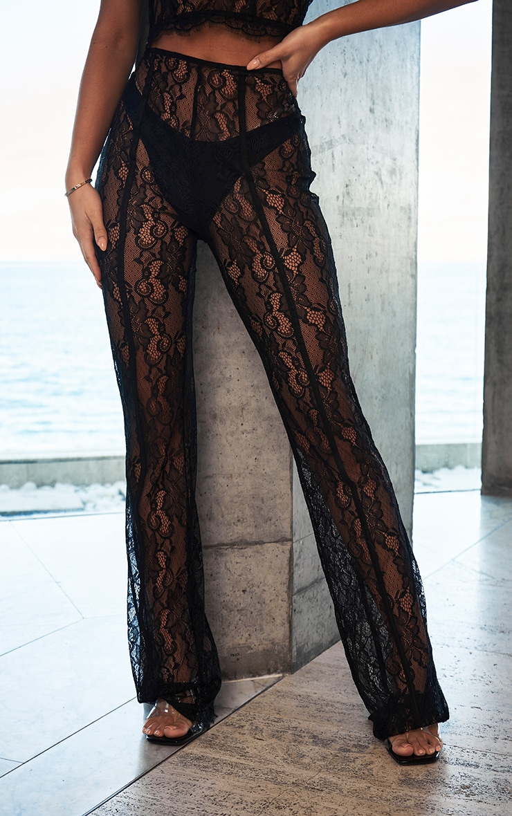 Black Sheer Lace Flared Trousers 2