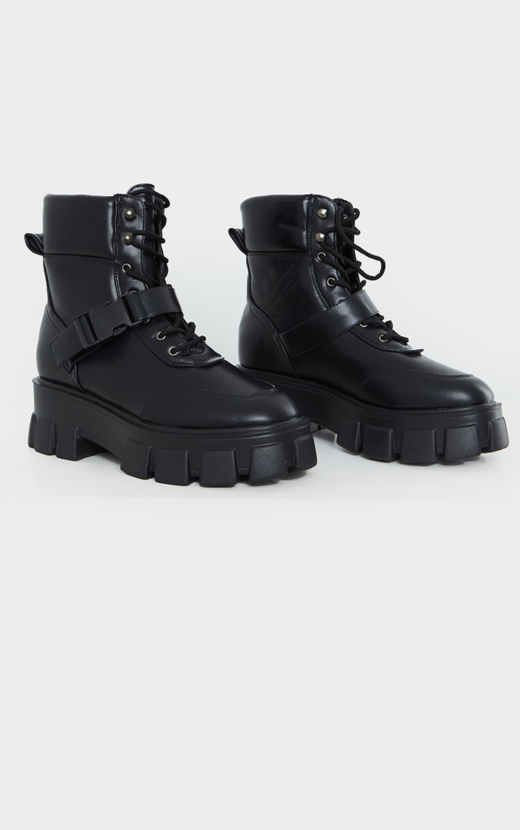 Black Extreme Chunky Sole Buckle Clasp Hiker Boots 3