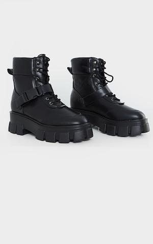 Noir Randonnée Chunky Boucle à Talon bottier Oeillet Cheville Bottes Chaussures Taille 3 4 5 6 7
