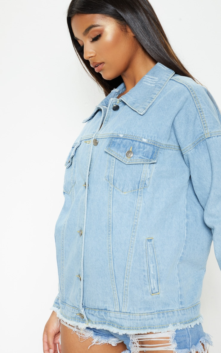 Aymeline Light Wash Distressed Oversized Denim Jacket 5