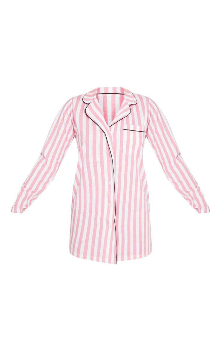 Baby Pink Stripe Cotton Sleep Shirt 5