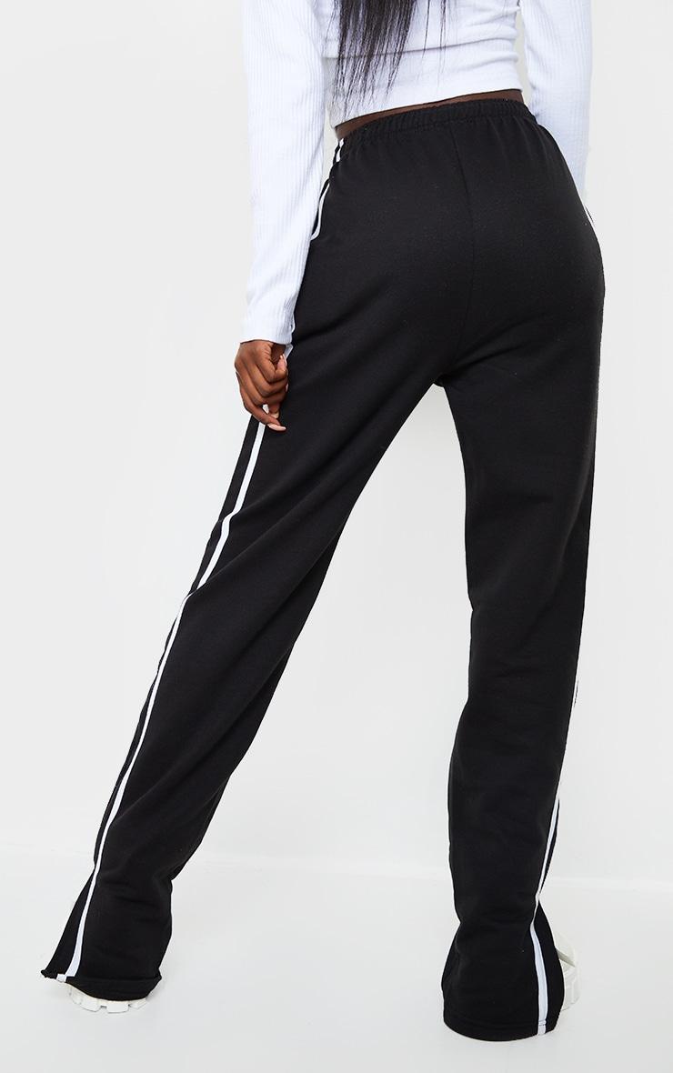 Tall Black Double Stripe Split Hem Joggers 3
