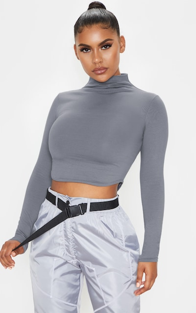 Grey Cotton Funnel Neck Long Sleeve Top