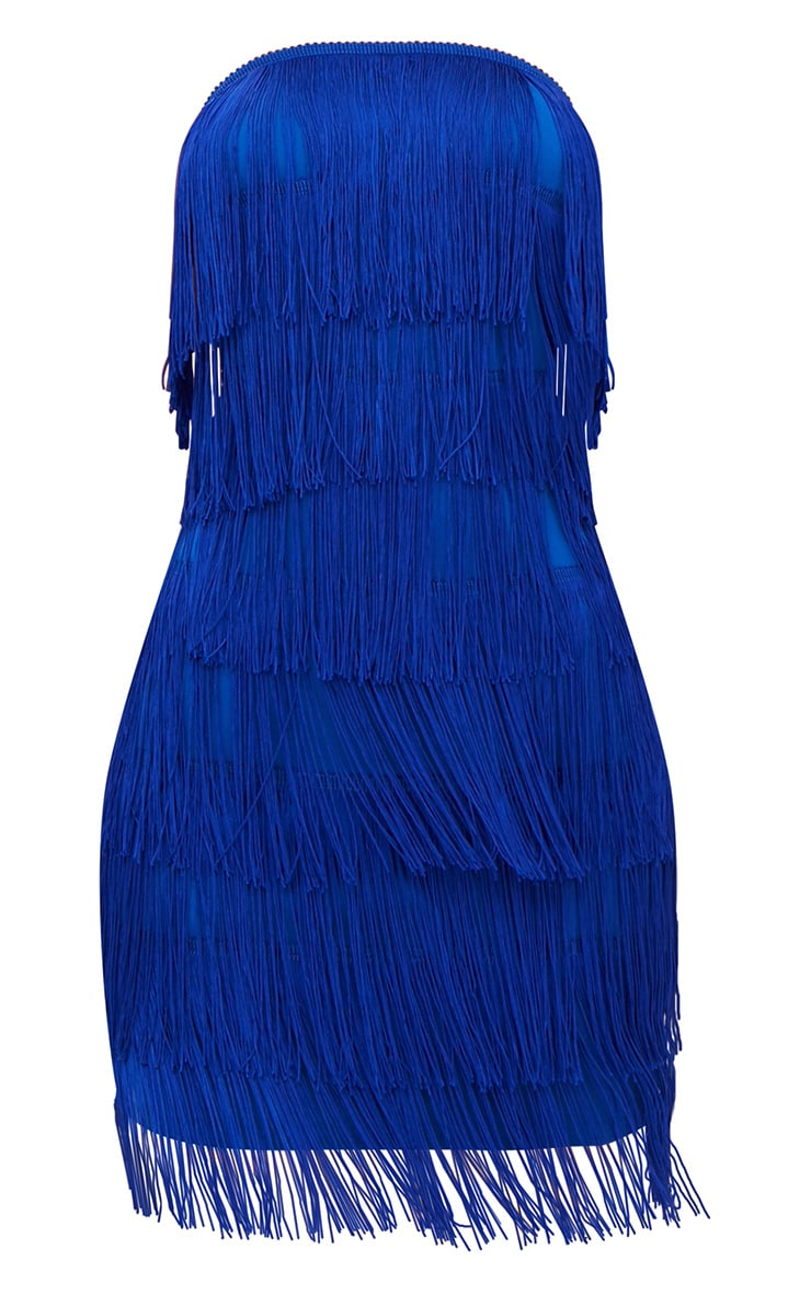 Cobalt Tassel Detail Bandeau Bodycon Dress 3