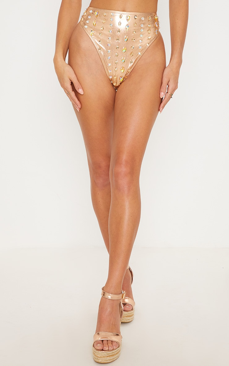 Rose Gold Premium High Waisted Beaded Pool Party Bottom 3