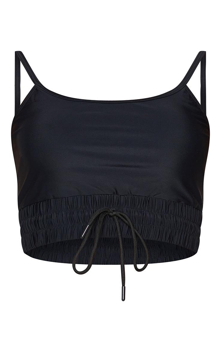 Black Ruched Hem Longline Scoop Bikini Top 5