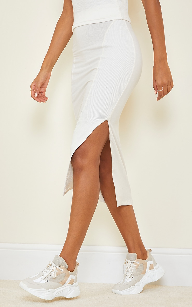Cream Thick Rib Split Side Midaxi Skirt 2