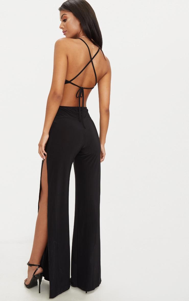 Black Slinky Side Split Jumpsuit
