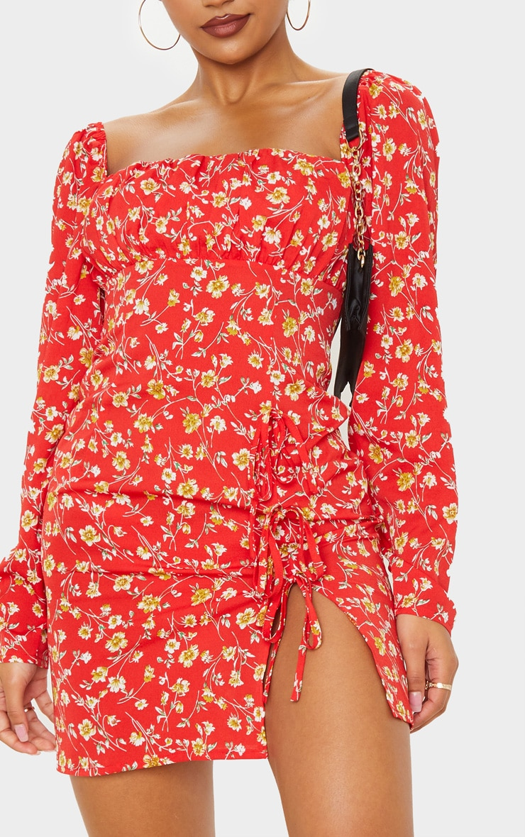 Red Ditsy Floral Bow Detail Side Split Bodycon Dress 5