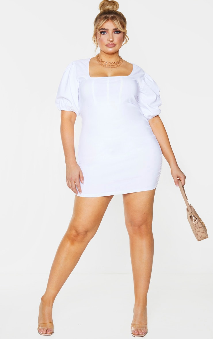 Plus White Stretch Corset Detail Puff Sleeve Bodycon Dress 1