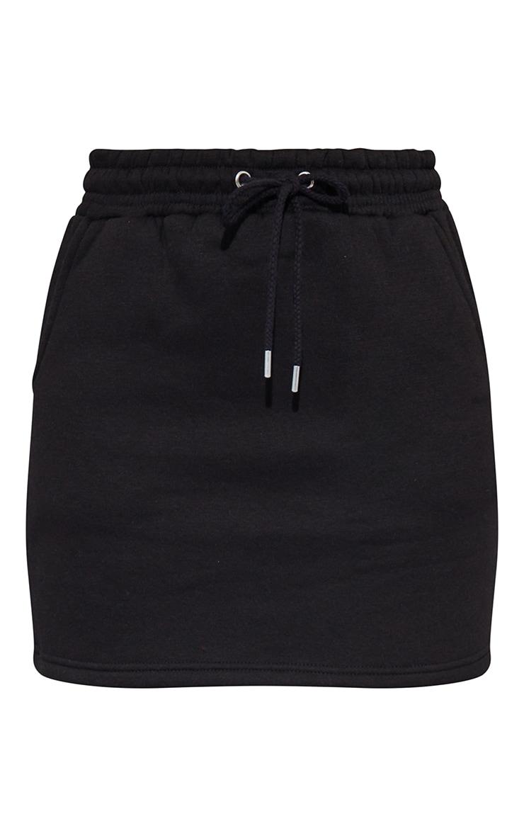 Black Sweat Drawstring Waist Mini Skirt 6