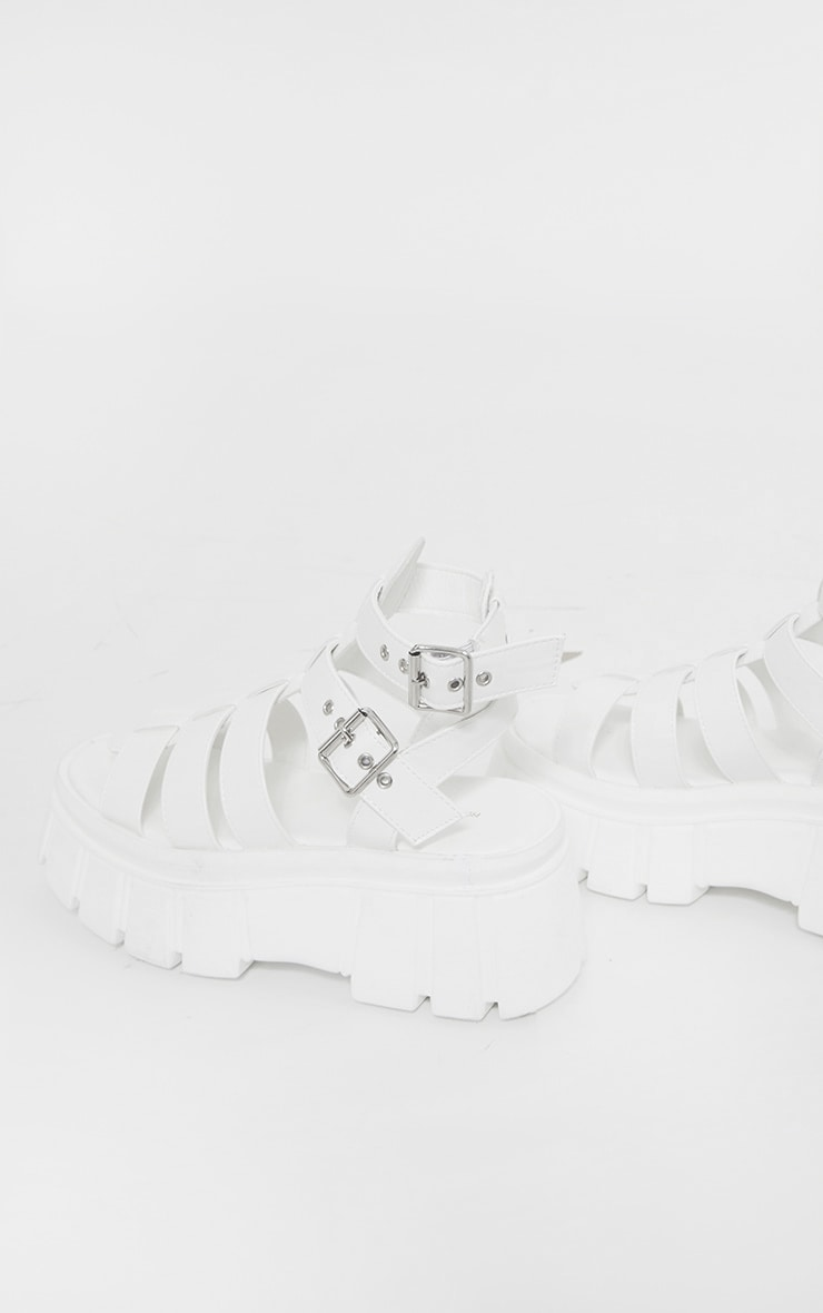 White Chunky Sole Gladiator Sandals 4