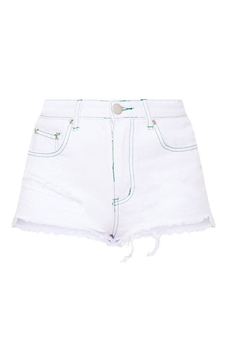 White Contrast Stitch Ripped Short 3