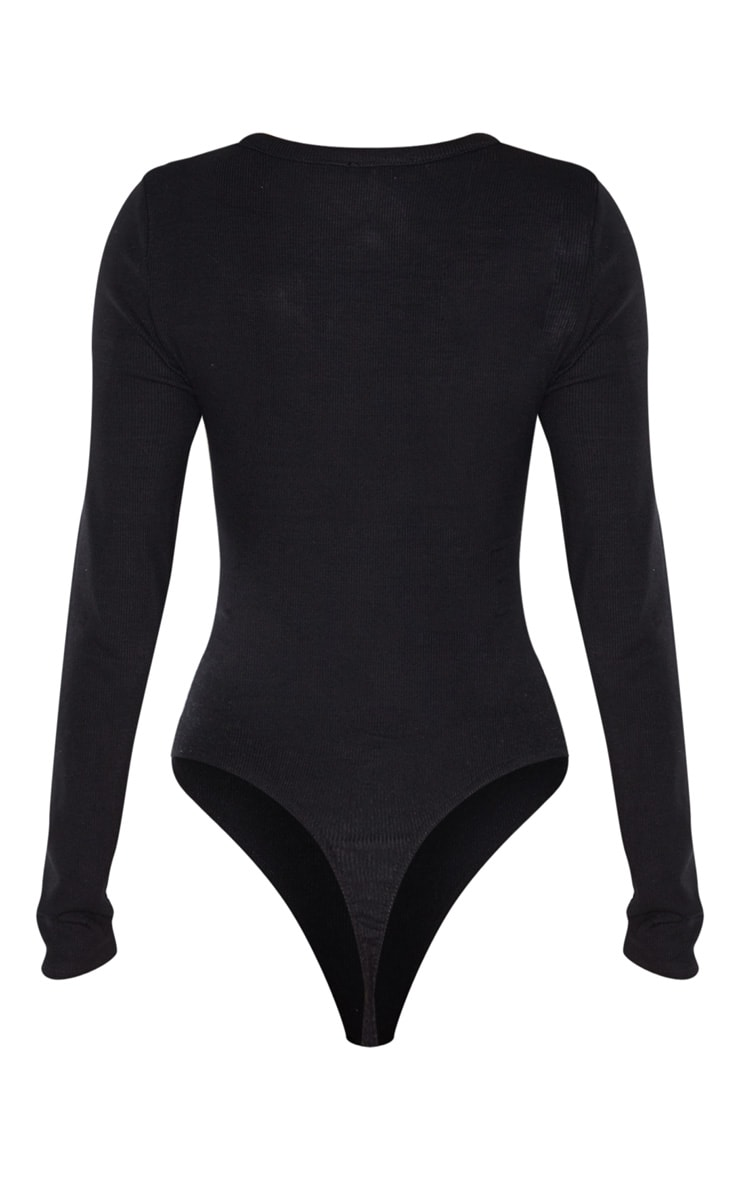 Tall Black Long Sleeve Popper Detail Thong Bodysuit 4