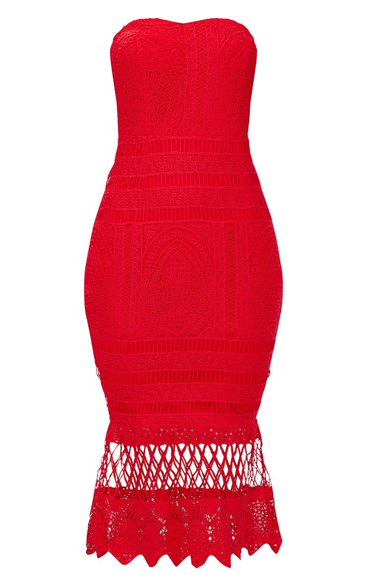 Red Lace Bandeau Longline Midi Dress 3
