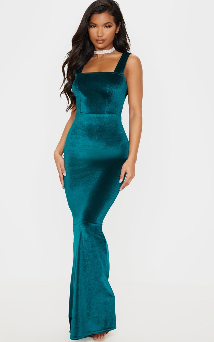 Emerald Green Velvet Square Neck Fishtail Maxi Dress 1