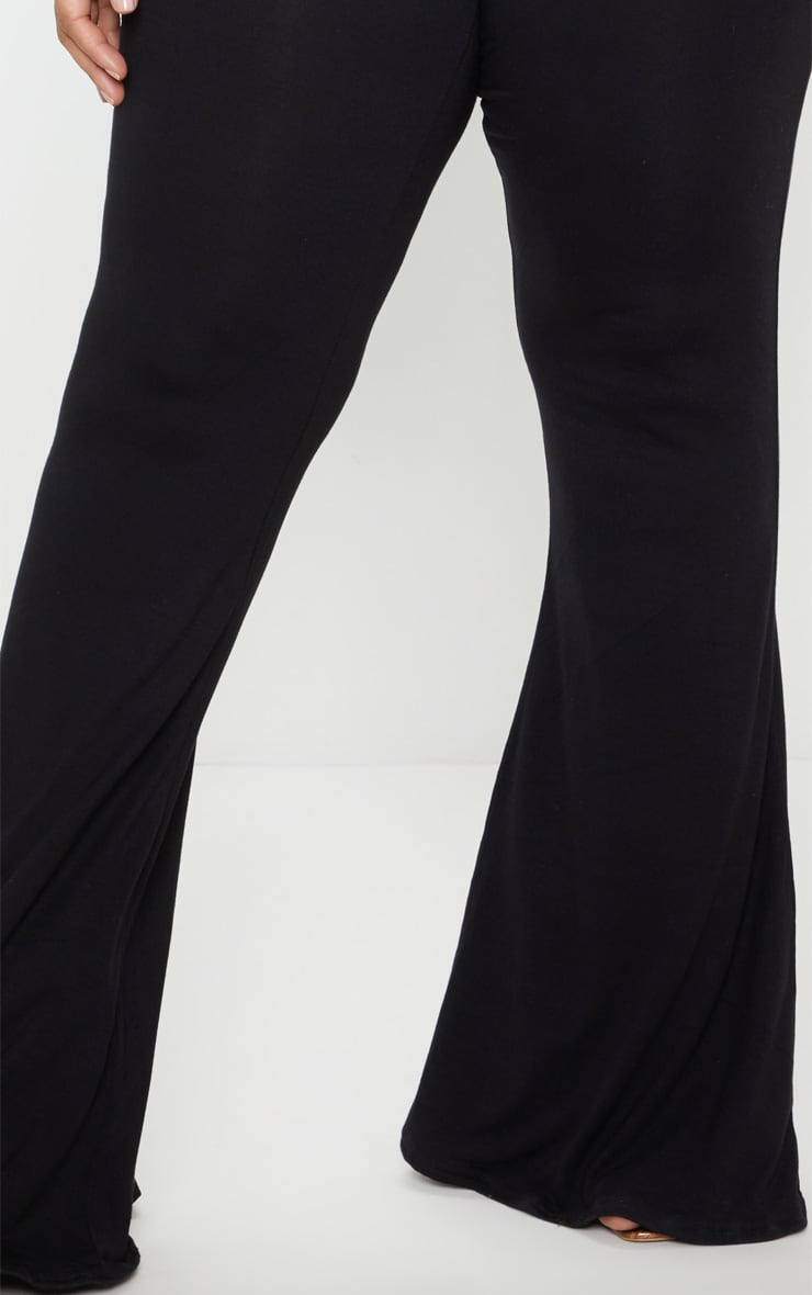 Plus Black Basic Flared Trousers 5