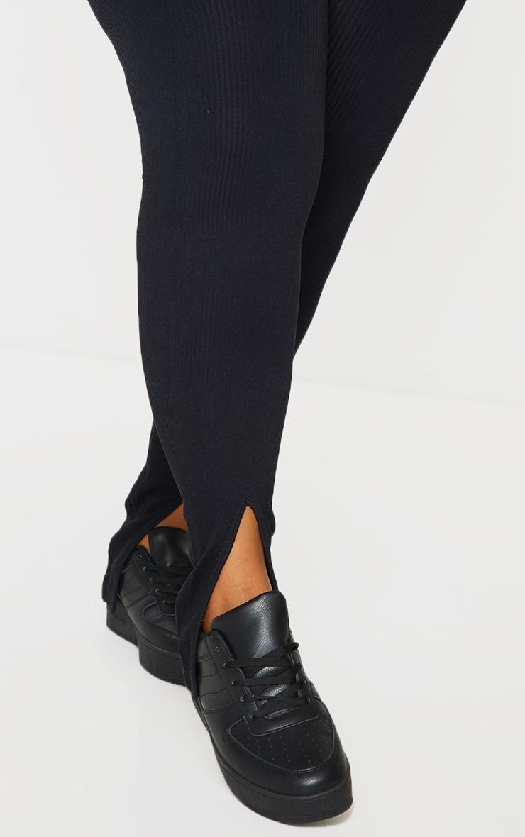 Plus Black Structured Contour Rib Split Hem Leggings 4