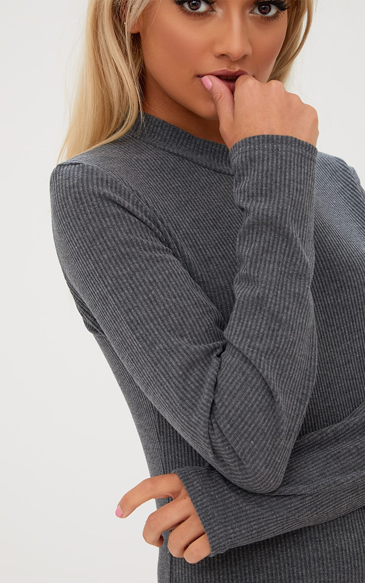 Grey Ribbed High Neck Longsleeve Top 5